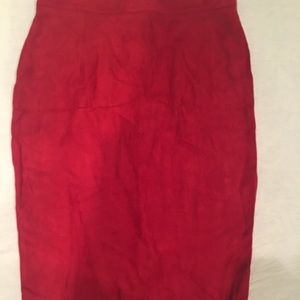 Missguided red faux suede mid-length skirt
